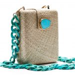 NORA BOX BAG - WHITE W TURQUOISE - TURQUOISE LONG CHAIN