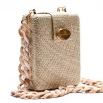 NORA BOX BAG - WHITE W AGATE - WHITE LONG CHAIN