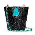 NAOMI BLACK W TURQUOISE - TURQUOISE LONG CHAIN