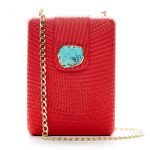 NORA BOX BAG - RED W TURQUOISE