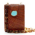 NORA BOX BAG - BROWN W TURQUOISE - LEO CHAIN - L